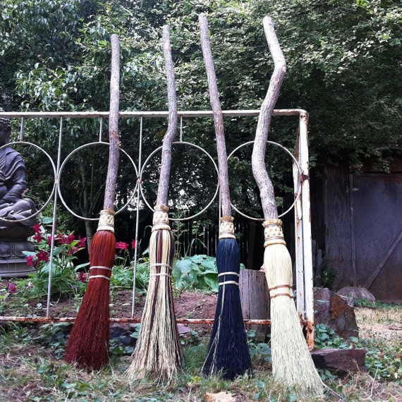 Witch Broom in your choice of Natural, Black, Rust or Mixed Broomcorn