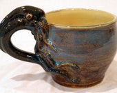 Inky Squid, Octopus Mug- Brown Blue Stoneware
