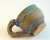 MUG- Octopus Squid, Brushed Turquoise on Natural Clay, Atlantis SALE (was 48)