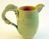 Botanical Fantasy Pitcher- Chartreuse with Seed Pod Handle