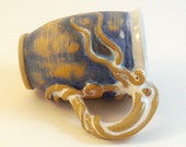 Mug Octopus SALE, Squid Latte- Brushed Blue, White and Speckled Tan, was 58