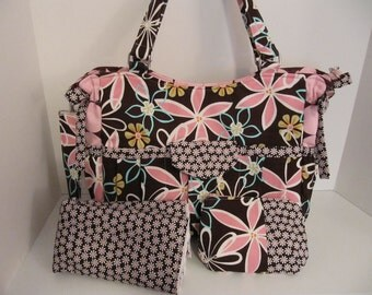 ON SALE DeaniesDuffles Mercy Rose Deluxe Diaper Bag Set in Daisy Flowers, Daisy Dreams, and Disco Dot by Michael Miller