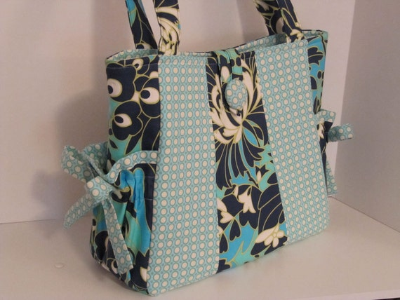DeaniesDuffles Karys Diaper Bag or Tote in Wild Flowers Navy and Happy Dots Ice by Amy Butler