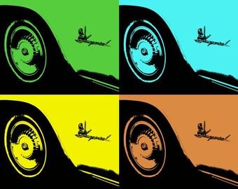 Pop Art Classic Car Tires Car Photography, Automotive, Auto Dealer, Classic, Muscle, Sports Car, Mechanic, Boys Room, Garage, Dealership Art