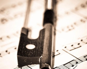 Violin Bow & Sheet Music Fine Art Print