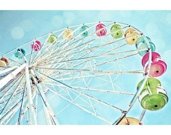 Rainbow Ferris Wheel & Blue Sky Fine Art Print- Carnival Art, County Fair, Nursery Decor, HomeDecor, Children, Baby, Kids