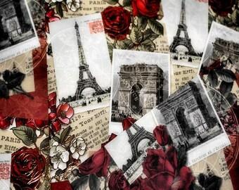 Postcards From Paris & Eiffel Tower Fine Art Print