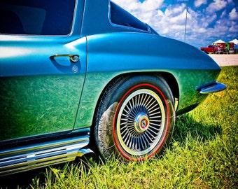 Chevrolet Corvette Stingray Car Photography, Automotive, Auto Dealer,  Muscle, Sports Car, Mechanic, Boys Room, Garage, Dealership Art