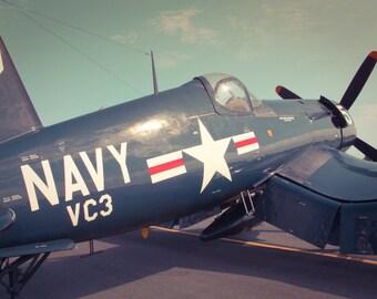 Blue Vintage Navy VC3 Plane Fine Art Print