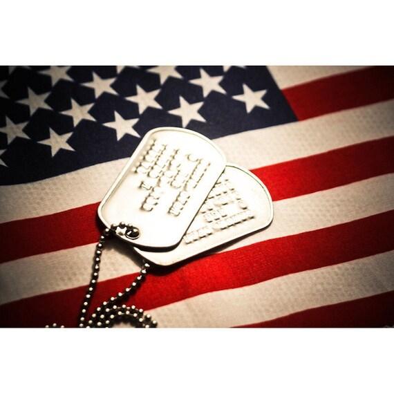 US Flag & Military Dog Tags Fine Art Print