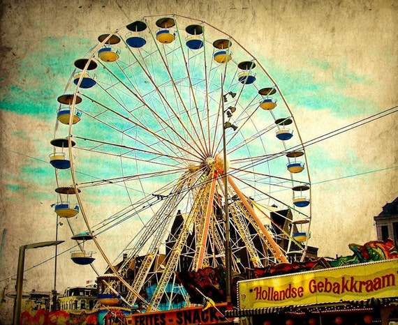 Grunge Amsterdam Ferris Wheel Fine Art Print- Carnival Art, County Fair, Nursery Decor, HomeDecor, Children, Baby, Kids