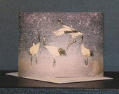 Cranes in Snow Note Card
