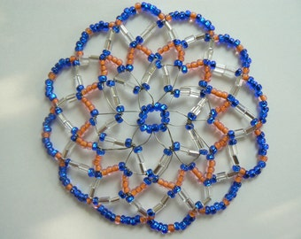 Clearance Kippah Sale!!!! Women beaded Kippah with shades of Blue and Orange (Go Gators), comes with a beautiful decorated gift box.