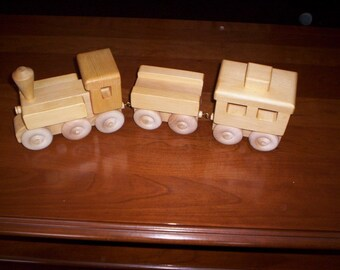 Wooden Toy Train 3-CAR Handcrafted, choice of  painted or unpainted.