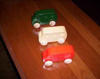 Wooden toy cars set of three