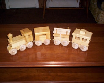 Wooden Toy Train 4-car handcrafteed . your choice of unpainted and painted.