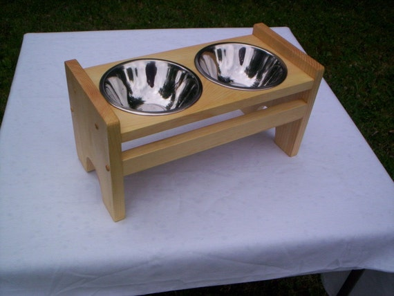 """Dog or Cat elevated feeders handcrafted 7"""" and 41/2"""" high bowls"""