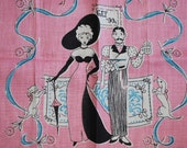 Whimsical Gay 90s Themed Vintage Kitchen Towel  TREASURY ITEM