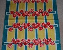 Vintage Mid Century Floral Geometric Kitchen Towel