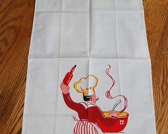 Vintage FRENCH Chef Kitchen Towel TREASURY ITEM Wine,Women Sauce
