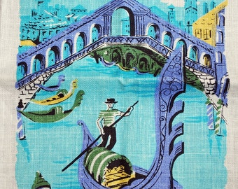 Vintage Souvenir Kitchen Towel-Venice, Italy Gondolas, Bridge of Sighs, Grand Canal