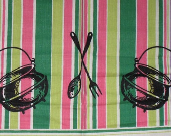 Vibrant Vintage Tablecloth from Parisian Prints Colorful Kitchen Pots Pans Rolling Pins UNUSED AND MWT