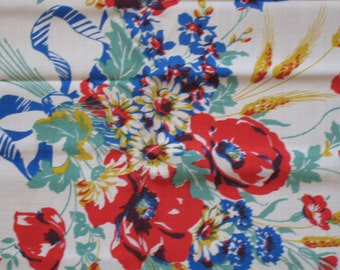 Fabulous Floral Vintage Tablecloth and Napkin Set--UNUSED AND MWT