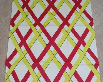 Vintage Kitchen Towel Featuring Red and Chartreuse Stripes-circa 1960s