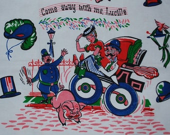 """Vintage """"Come Away With Me Lucille"""" Kitchen Towel"""
