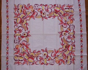 Pretty in Pink Vintage 1950s Tablecloth -  Fruit MWT