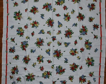 """Vintage 1950s Kitchen Tablecloth """"SPRING"""" Simtex MWT Roses"""