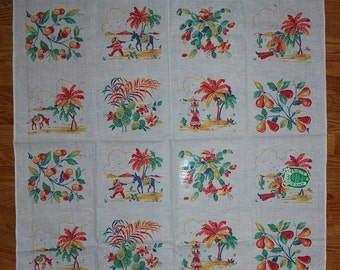 Vintage Mexican Life Kitchen Tablecloth MWT Cactus Serape Sombrero