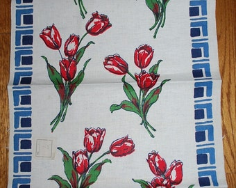 Red Red Tulips Vintage 1950s  Kitchen Towel TREASURY ITEM