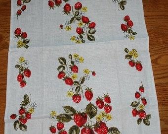 Sweet Strawberries Vintage 1970s Kitchen Towel-TREASURY PICK