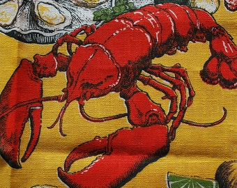Vintage Shore Dinner Kitchen Towel featuring Lobster and Clams