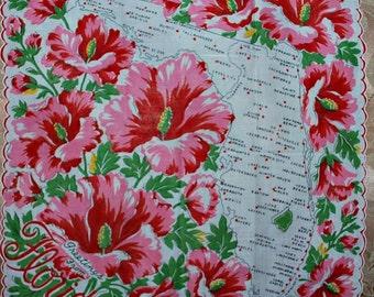 Vintage Florida State Souvenir Handkerchief-Mint and Unused