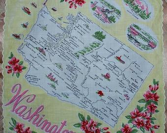 Vintage Washington State Souvenir Handkerchief-Mint and Unused FRANSHAW