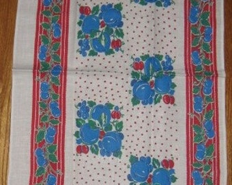 Vintage Kitchen Towel featuring Blue Cherries and Plums-Unused