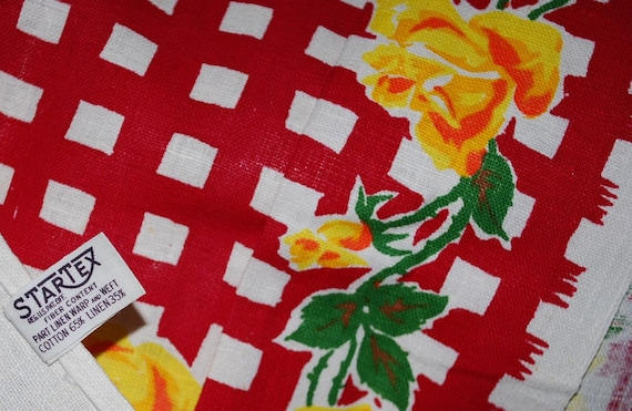 Vintage Kitchen Towel-Yellow Roses and Red Checks TREASURY SELECTION