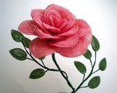 Golden Pink Cabbage Rose - French Beaded Flower