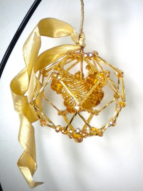 Golden Mistletoe Kissing Ball Ornament- French Beaded