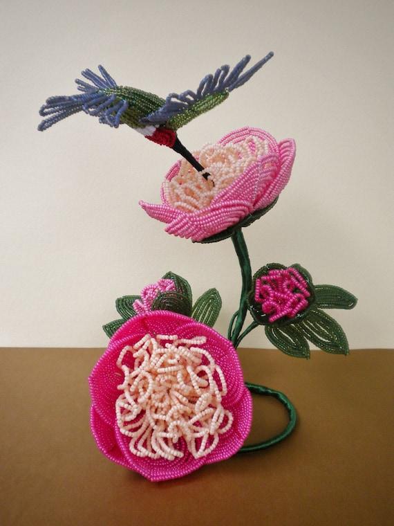 Sorbet Peonies w/Hummingbird - French Beaded Flowers