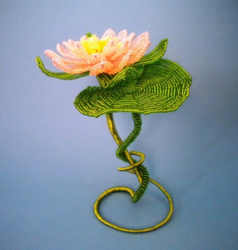 Waterlily French Beaded Flower