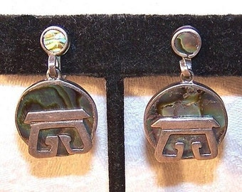 Vintage Earrings,STERLING SILVER,Sterling Earrings,Silver Earrings,Abalone,Shell,Drop Earrings,Mexican,Made in Mexico,Taxco,Abalone Shell