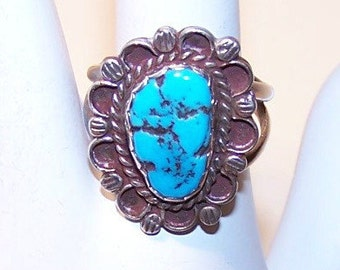Vintage NATIVE AMERICAN Sterling Silver & Turquoise Nugget Ring....