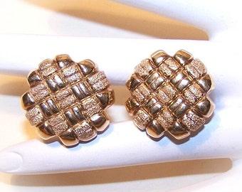 Vintage STERLING SILVER Vermeil Basket Weave Earrings from Italy...
