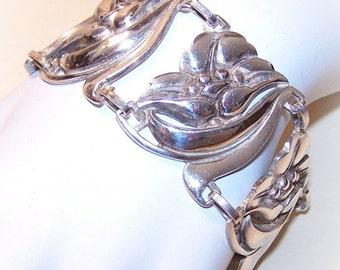 Stunning 1950s STERLING SILVER  Floral Link Bracelet by Vikingcraft