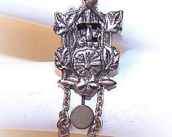 Vintage European 800 SILVER Charm - Cuckoo Clock
