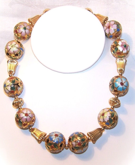 Opulent C.1970 ASIAN Gold & Cloisonne Bead Necklace....