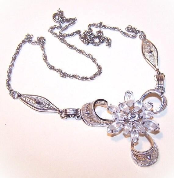 Vintage STERLING SILVER & Crystal Filigree Necklace by Am Lee....